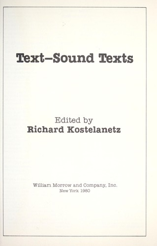 Image for Text--Sound Texts
