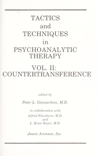 Image for Tactics and Techniques in Psychoanalytic Therapy - Volume II : Countertransference