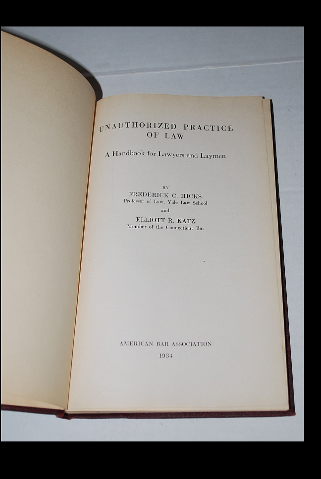 Image for Unauthorized Practice of Law: A Handbook for Lawyers and Laymen