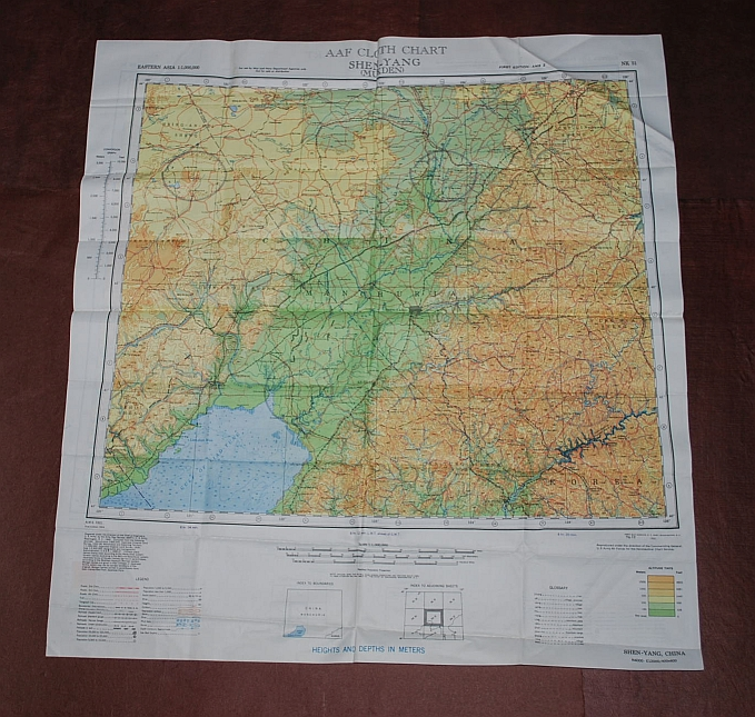 Image for Jehol NK 50 & Shen-Yang (Mukden) NK 51. AAF Cloth Chart. Eastern Asia Series. AMS 5301. Evasion Map Scarf