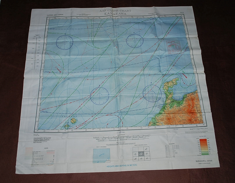 Image for Sendai NJ 54 & Kanazawa NJ 53. AAF Cloth Chart. AMS 5301. Eastern Asia Series. Evasion Map Scarf