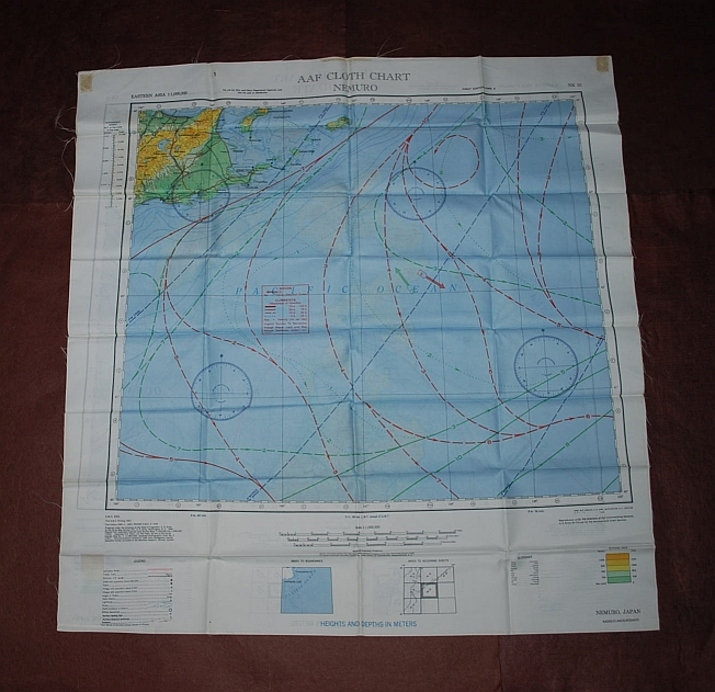Image for Hakodate NK 54 & Nemuro NK 55. AAF Cloth Chart. AMS 5301. Eastern Asia Series. Evasion Map Scarf