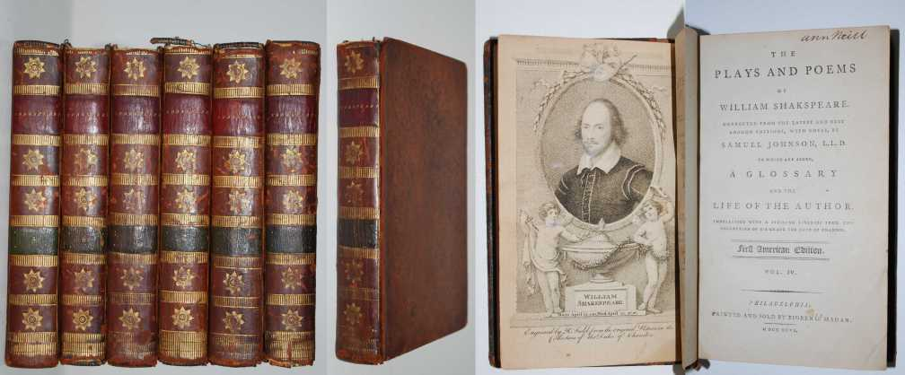 The Plays and Poems of William Shakspeare ( Shakespeare ). First American Printing 1795