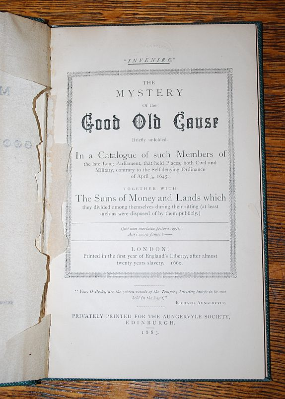 Image for The Mystery of the Good Old Cause Briefly Unfolded. (  Contemporary Satire of the Long Parliament )
